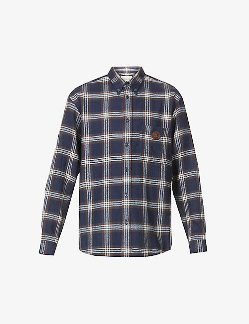 GUCCI: Checked brand-patch wool-flannel shirt