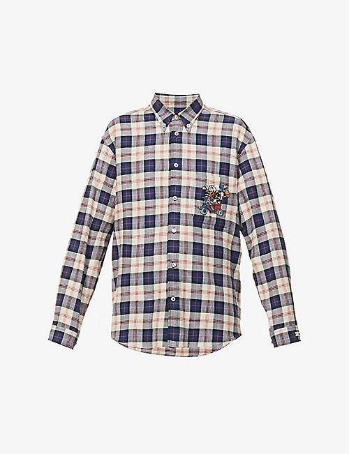 GUCCI: Gucci x Disney Donald Duck checked cotton and linen-blend shirt