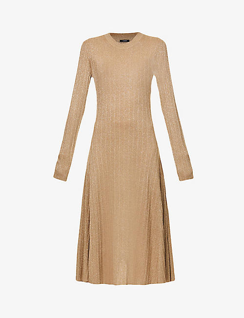 JOSEPH: Diva metallic knitted midi dress