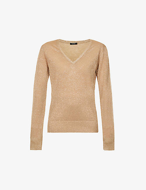 JOSEPH: V-neck metallic knitted jumper