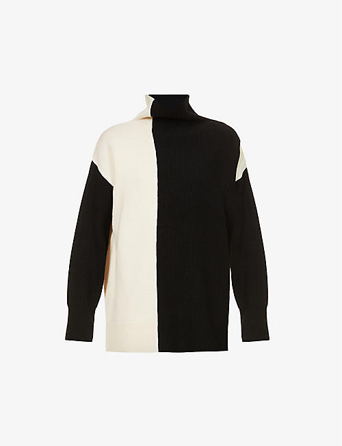 JOSEPH: Two-tone turtleneck oversized wool jumper