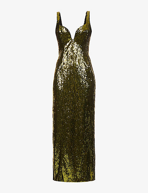 GALVAN: Savannah sequinned maxi dress