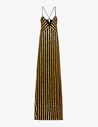 GALVAN: Pride sequin-embellished stripe pattern woven gown