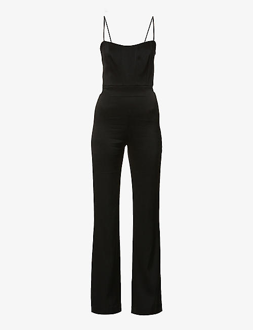 GALVAN: Beaded-panel wide-leg satin-crepe jumpsuit