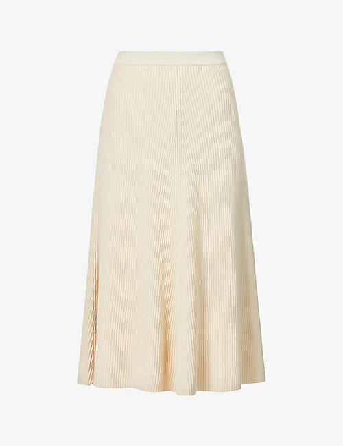 JOSEPH: High-waisted cotton-knit midi skirt