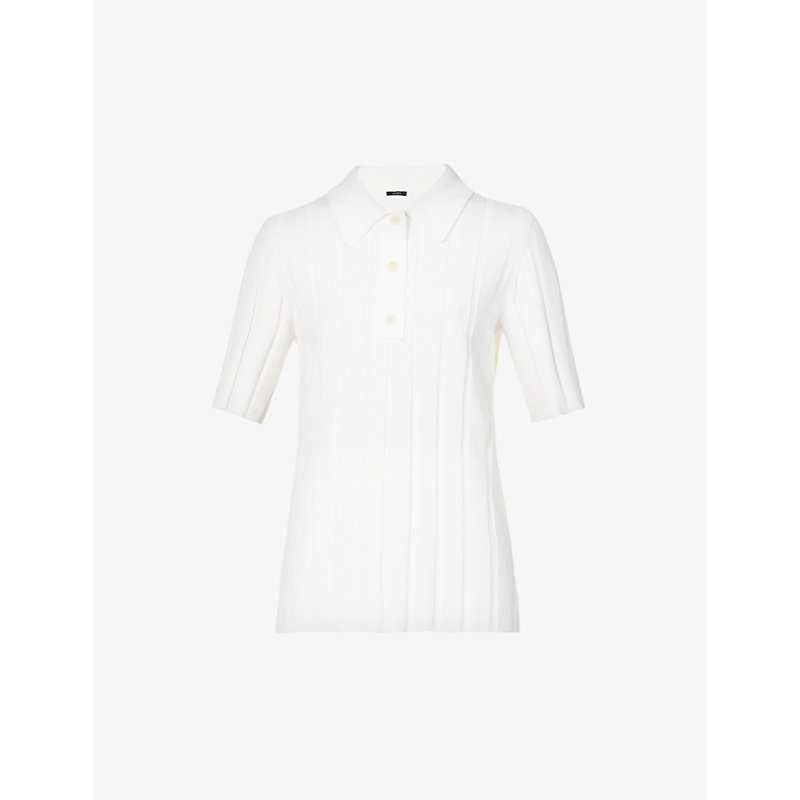 Joseph Tops RIBBED STRETCH-WOVEN POLO TOP