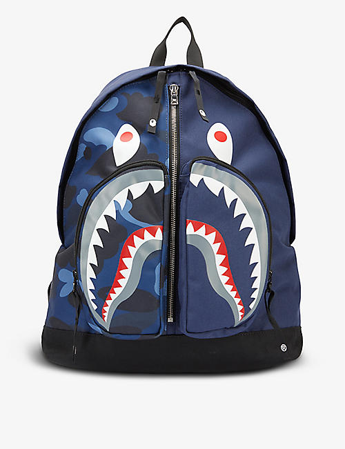 A BATHING APE: Camo Shark brand-print woven backpack