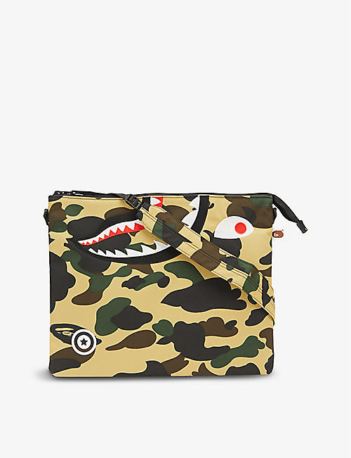 A BATHING APE: Camouflage-print woven shoulder bag