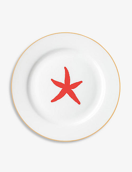 ALICE PETO: Starfish-print fine bone china side plate 21cm