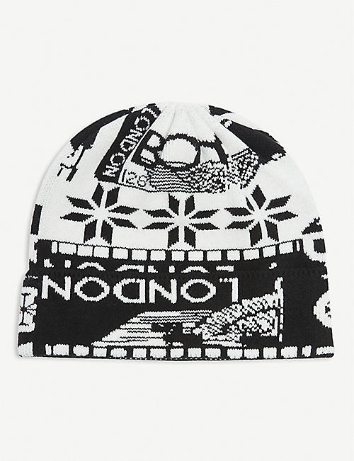 BOY LONDON: Mosaic graphic-pattern wool-blend beanie hat