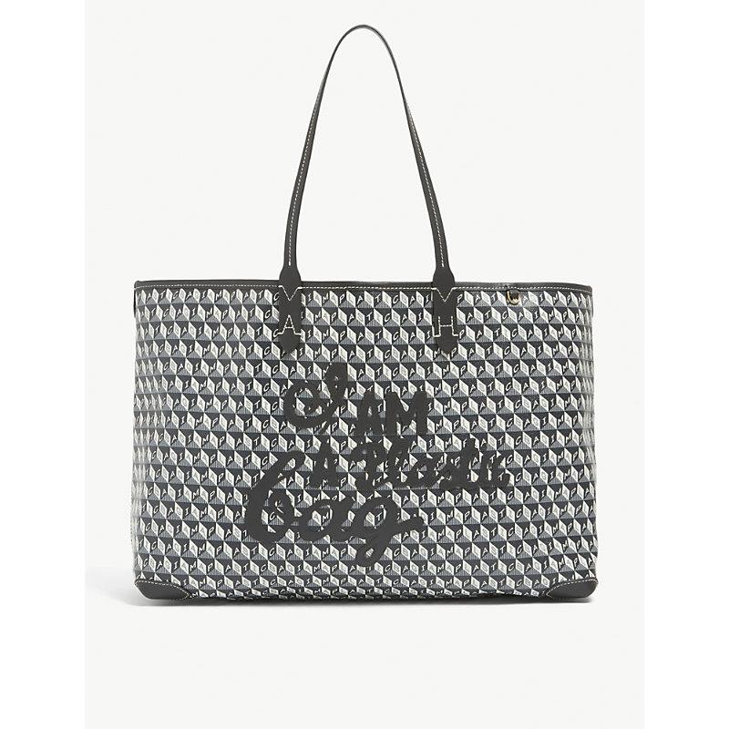 Anya Hindmarch I Am A Plastic Bag Coated Canvas Tote Bag In Black