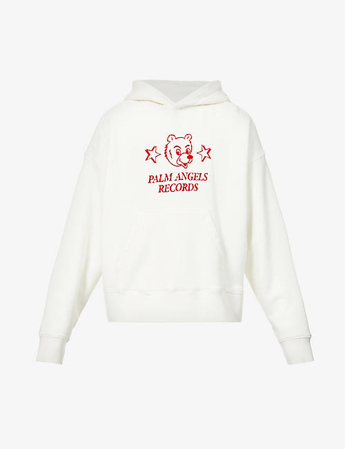 PALM ANGELS: Palm Angels Records graphic-print cotton-jersey hoody