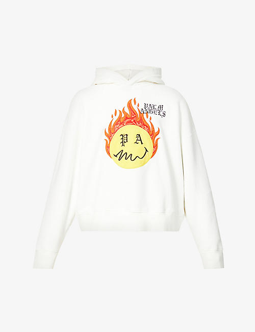 PALM ANGELS: Burning Head graphic-print cotton-jersey hoody