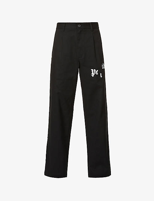 PALM ANGELS: Broken logo-print relaxed-fit high-rise cotton trousers