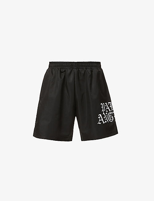 PALM ANGELS: Gothic logo-print shell shorts