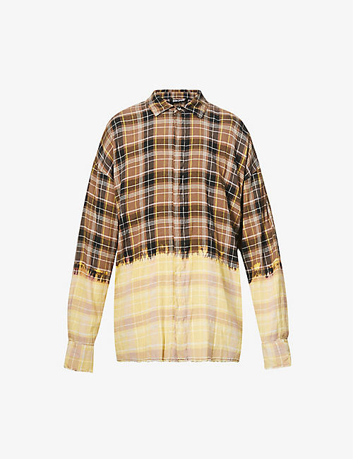 PALM ANGELS: Contrasting check linen-blend shirt