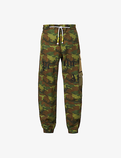 PALM ANGELS: Camouflage-print straight-leg relaxed-fit cotton trousers