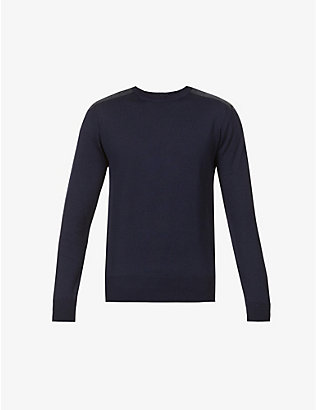 BELSTAFF: Kerrigan contrast-shoulder crewneck wool jumper