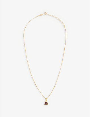 EDGE OF EMBER: Garnet Charm 18k gold-plated necklace