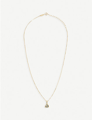 EDGE OF EMBER: Aquamarine Charm 18k gold-plated necklace