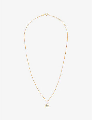 EDGE OF EMBER: White Topaz Charm 18k gold-plated necklace