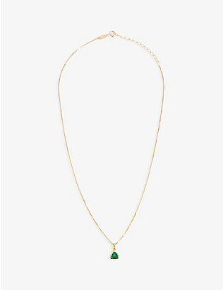 EDGE OF EMBER: Green Onyx Charm 18k gold-plated necklace