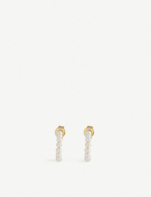 EDGE OF EMBER: Shore Pearl 18k gold-plated and freshwater pearl hoop earrings