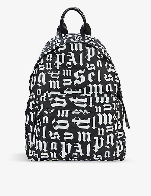 PALM ANGELS: Monogram-print cotton-blend and leather backpack