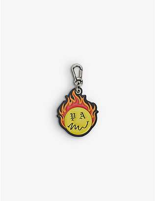 PALM ANGELS: Burning Head brand-print leather key chain