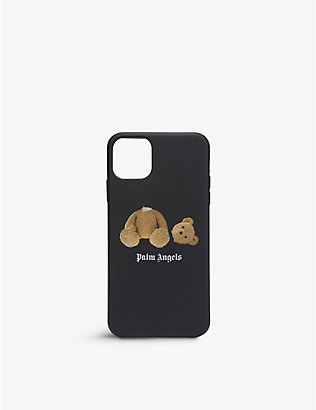 PALM ANGELS: Bear-print silicone iPhone 11 Promax case