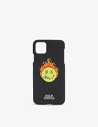 PALM ANGELS: Burning Head brand-print silicone iPhone 11 Pro Max case