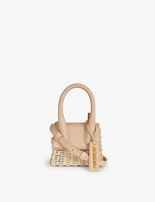 JACQUEMUS: Le Chiquito mini leather and wicker top handle bag