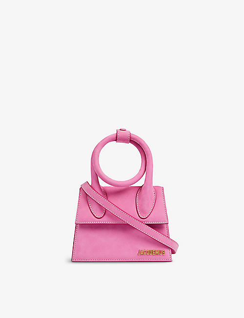 JACQUEMUS: Le Chiquito Noeud medium suede top handle bag
