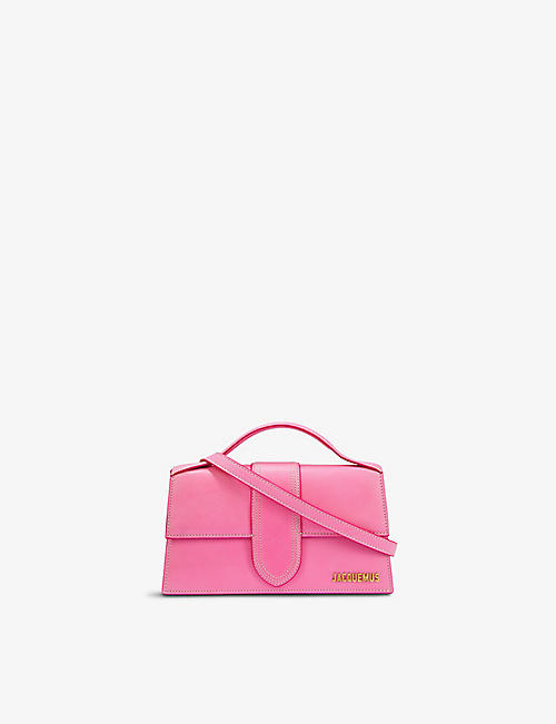 JACQUEMUS: Le Grand Bambino suede top handle bag