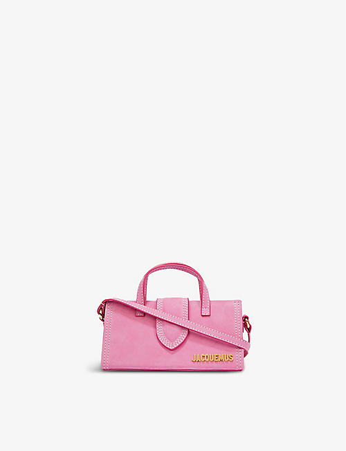 JACQUEMUS: Le Porte suede top handle bag