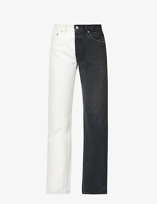 1/OFF: Upcycled Double Jeans colour-blocked straight mid-rise denim jeans
