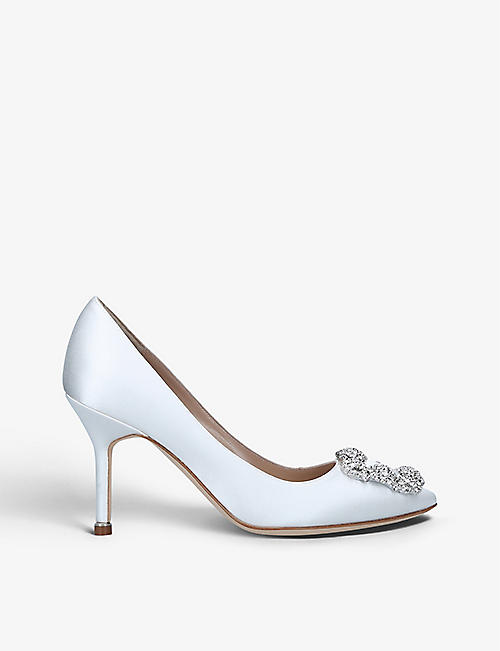 MANOLO BLAHNIK: Hangisi 70 crystal-embellished satin courts