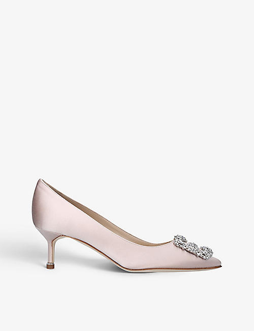 MANOLO BLAHNIK: Hangisi 50 crystal-embellished satin courts