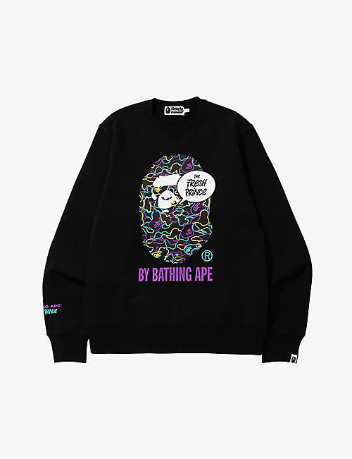 A BATHING APE: A Bathing Ape x The Fresh Prince graphic-print cotton-jersey sweatshirt