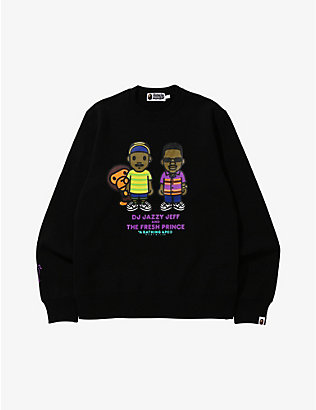 A BATHING APE:A Bathing Ape x The Fresh Prince Jazzy Milo 图案印花平纹针织棉套头衫