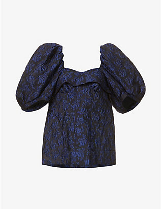 SIMONE ROCHA: Floral-embroidered woven top