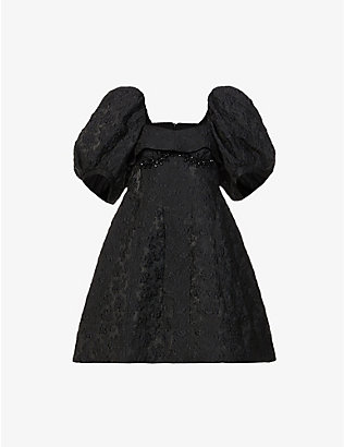 SIMONE ROCHA: Floral-embroidered puff-sleeve crepe mini dress