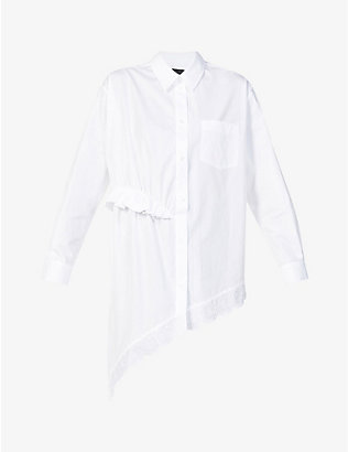 SIMONE ROCHA: Embroidered asymmetric cotton-poplin shirt