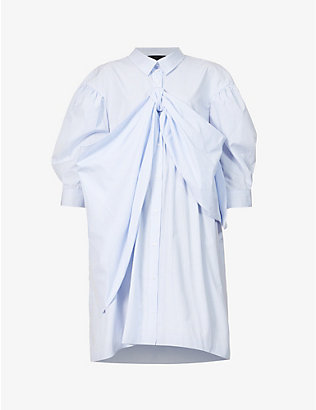 SIMONE ROCHA: Bow-embellished cotton-poplin shirt midi dress
