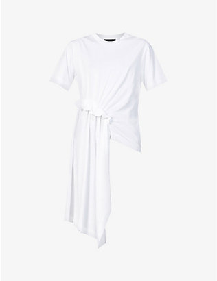 SIMONE ROCHA: Ruched-trim asymmetric cotton-jersey top