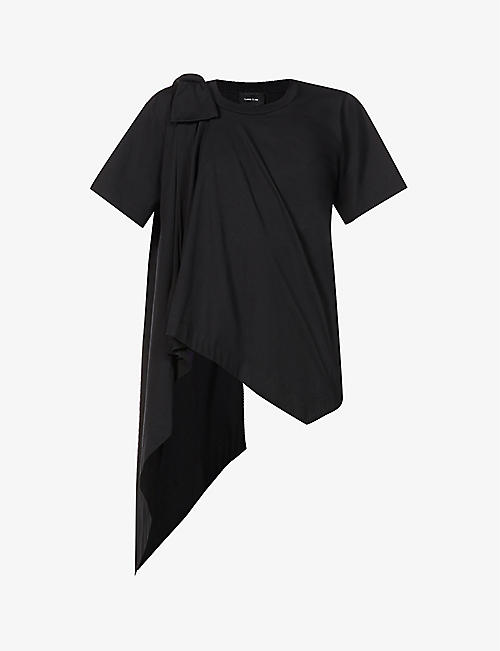 SIMONE ROCHA: Bow-embellished oversized cotton-jersey top