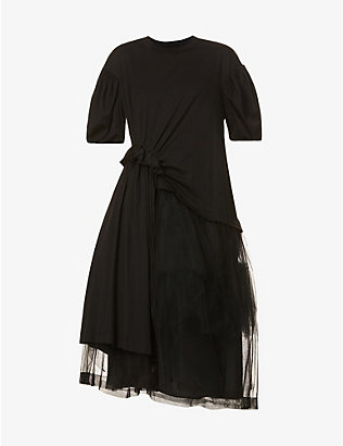 SIMONE ROCHA: Asymmetric cotton-jersey and tulle maxi dress