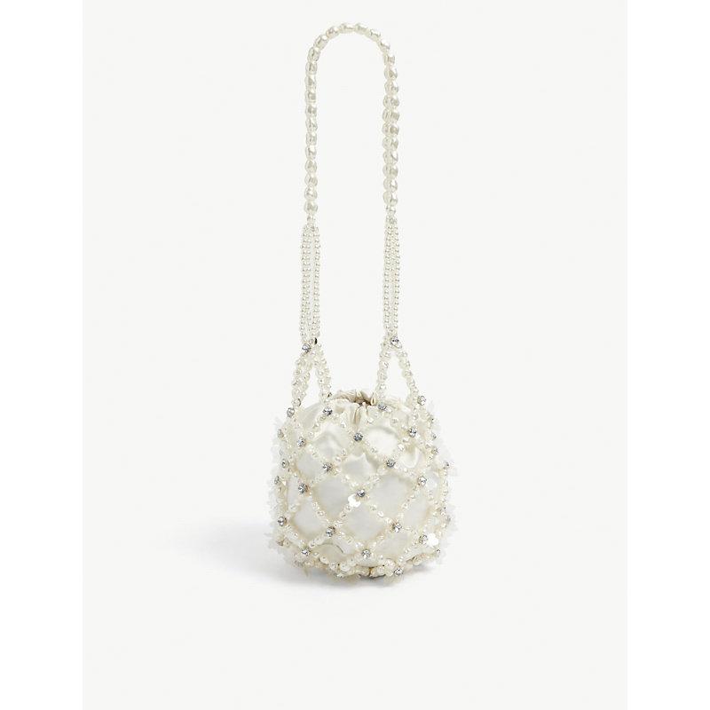 Egg bead-embellished acrylic shoulder bag