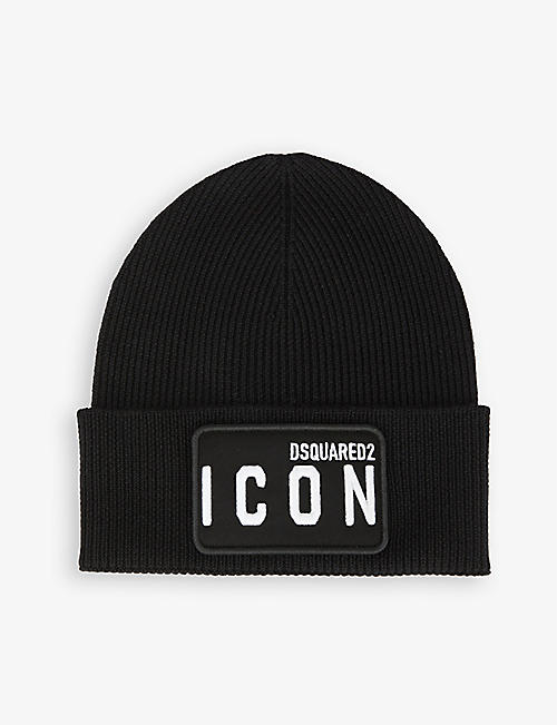 DSQUARED2 ACC: Icon logo-embroidered wool beanie