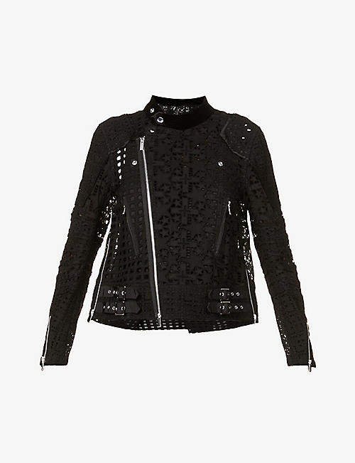 SACAI: Cut-out embroidered cotton jacket
